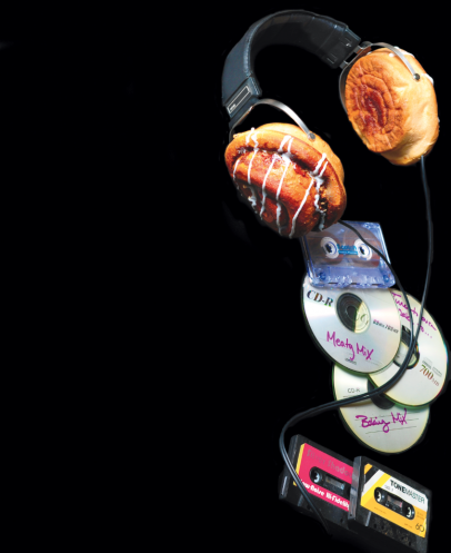 headphones made of cinnamon buns with cd roms and cassette tapes