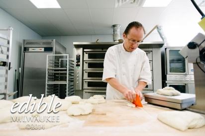 slicing bread dough