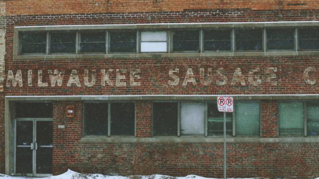 brick facade of Milwaukee Sausage Co.