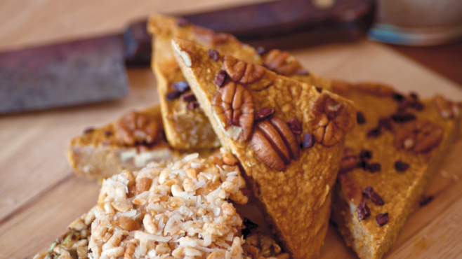 homemade protein bars with pumpkin seeds and sunflower seeds