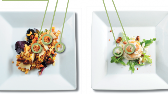 plated meals with ingredient descriptions