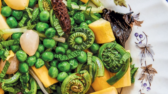 Spring Wild Harvest Ragout With Fiddleheads, Ramps and Morels Recipe